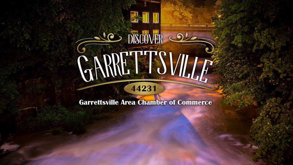 Garrettsville Area Chamber Logo over photo of Eagle Creek